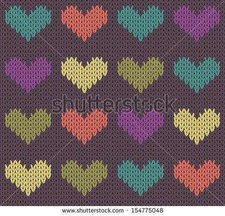 Seamless pattern with knit hearts