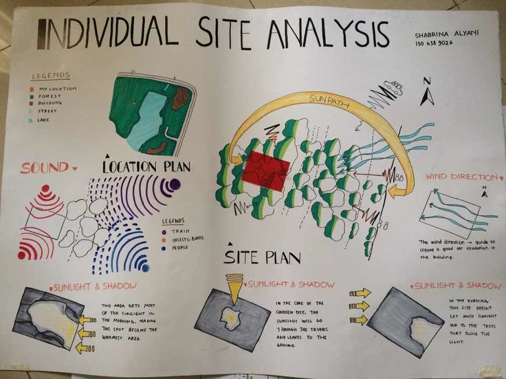 Individual Site Analysis - a very general description of the site's condition about the sun path, shaded/exposed area, wind direction, and noise.