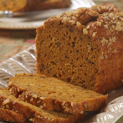Spiced Pumkin Bread  Ingredients   4 cups all-purpose flour  1 tablespoon pumpkin pie spice  2 teaspoons baking powder  1 teaspoon baking soda  3/4 teaspoon salt  1 can (15 ounces) LIBBY'S® 100% Pure Pumpkin  2 cups packed brown sugar  1 cup Apple NESTLÉ® JUICY JUICE® All Natural 100% Juice  4 large eggs  1/4 cup vegetable oil  2 teaspoons vanilla extract  1 cup chopped nuts, divided