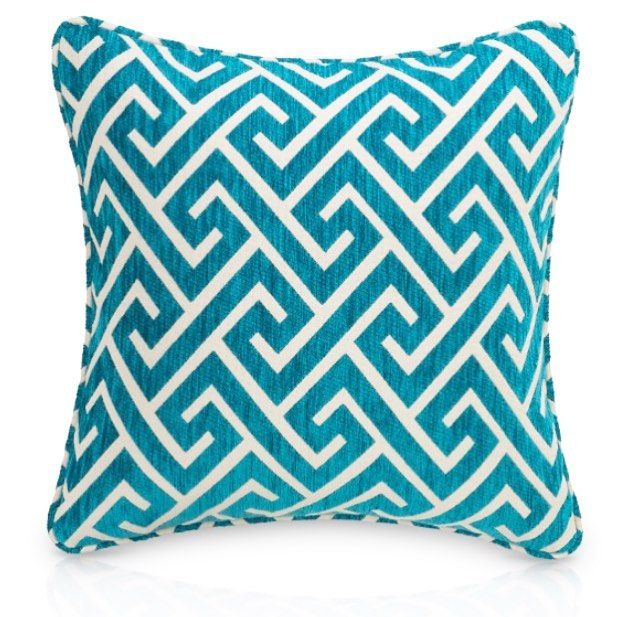 APOLLO Turquoise cushion - proudly designed & manufactured in Australia. IN STOCK NOW order online  www.hotelhome.com.au #hotelhomeaust #cushion #geometric #madeinaustralia #interiordesign #hoteldesign #textiledesign #upholstery #greekkey #turquoise