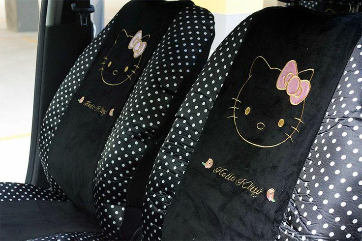 Capa para Banco de Carro Hello Kitty - Bolinhas Brancas.
