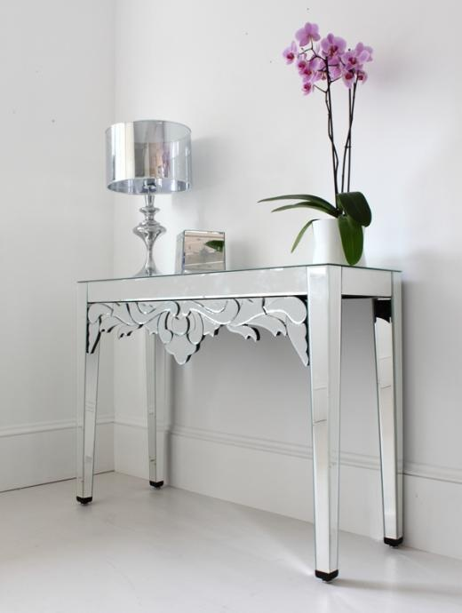 Mirrored console table from Out There Interiors.: Consoles, Venetian Mirror, Mirrored Furniture, Venetian Console, Detailed Embellishment, Dream Interiors, Console Tables, Embellishments