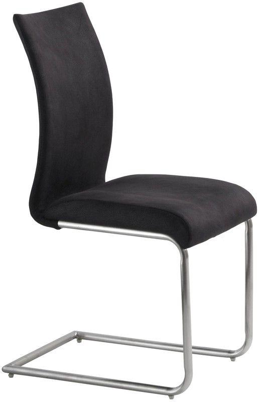 879 inkl lev Nova Spisebordsstol - Lækker spisebordsstol i sort stof, som giver stolen et flot mat læder-look. Stellet er udført i børstet stål, som giver stolen et råt finish. Det polstrede sæde og ryg garanterer god siddekomfort, så man kan nyde lange aftener ved middagsbordet fuldt ud.