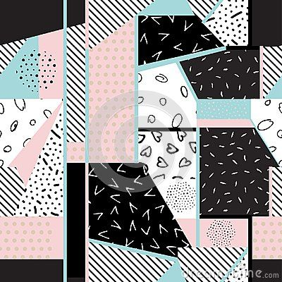 Seamless abstract background- illustration. Pattern from pieces of different textures. Patchwork.