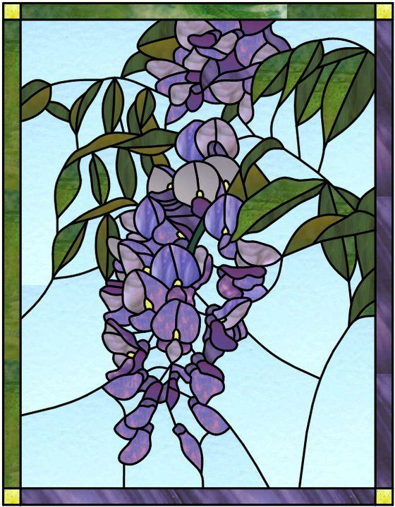 Stained Glass Art - Wisteria by Manon Cayer
