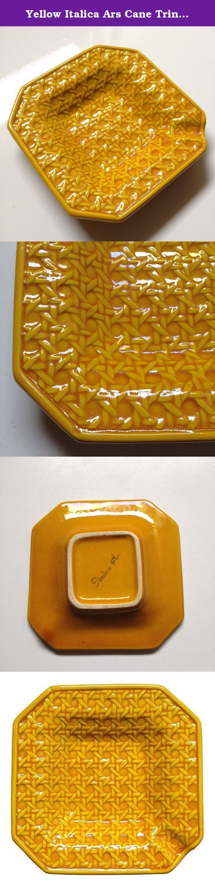 Yellow Italica Ars Cane Trinket Tray. This yellow Mid-Century Italica Ars cane/rattan print ashtray is full of Palm Springs personality! A perfect dish to hold your keys by the front door, contain jewelry by your bed or organized paperclips on your desk! Dimensions 5.25ʺW × 5.25ʺD × 1.0ʺH Made in Italy.