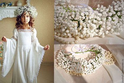 Венок на голову из гипсофилы,  венок на голову из цветов, свадебный венок, венок для прически, веночек для невесты, веночек, свадебные аксессуары Смоленск