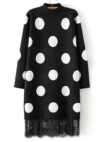 Black Mock Neck Polka Dot Lace Hem Sweater Dress