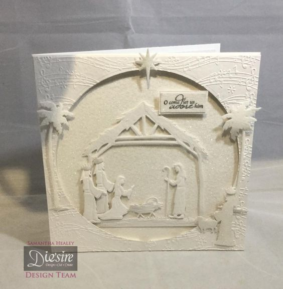 Card using the Sara Signature Traditional Christmas range, Away in a Manger die. Designed by Sam Healey. #crafterscompanion #Christmas