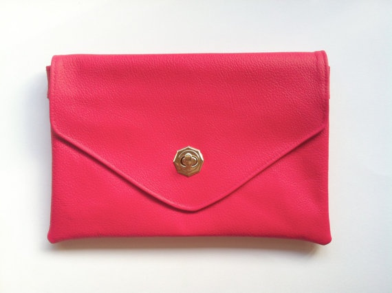 bright leather clutch