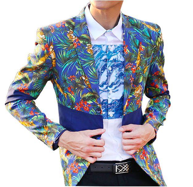 Amazing Floral Paradise Blue High End Creative Blazer X09889I08
