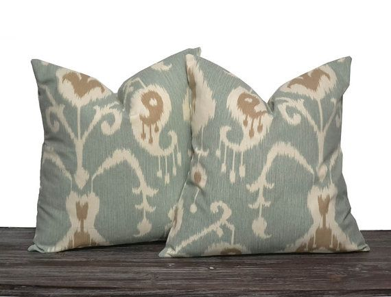 "18"" Seafoam Ikat Pillow Set - Set of 18 x 18 Inch Neutral Pillow Covers - Seafoam Cream and Brown - TWO PILLOW COVERS"