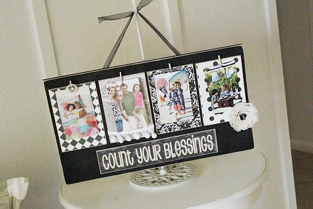 #Tutorial for a cute photo display. Think to #repurpose boards.
