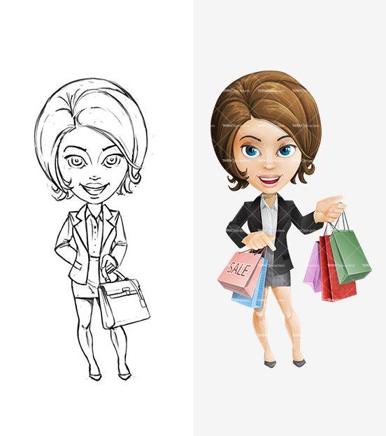 Female Cartoon Character Pencil Draft: http://tooncharacters.com/female-cartoon-characters/smartly-dressed-female-cartoon-character/