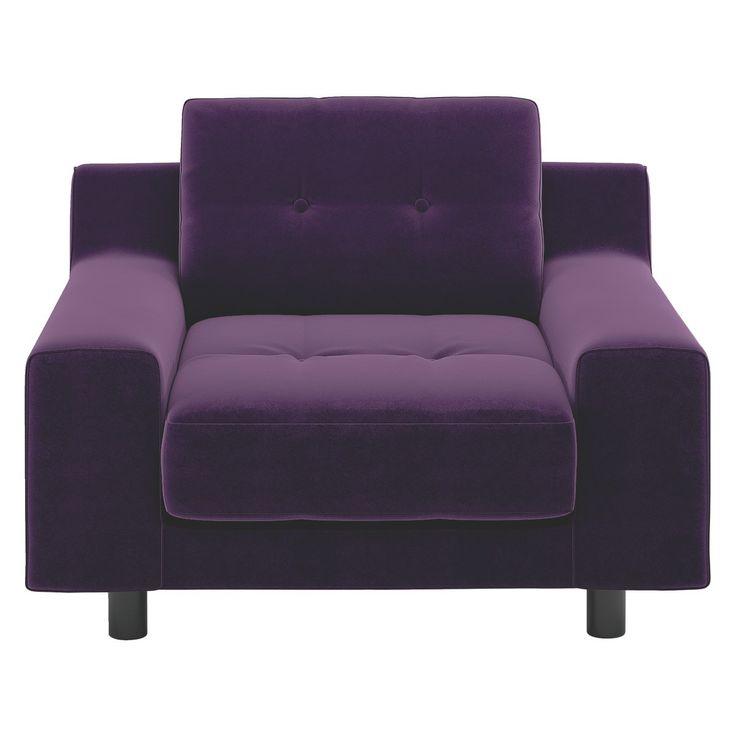 HENDRICKS Purple velvet armchair