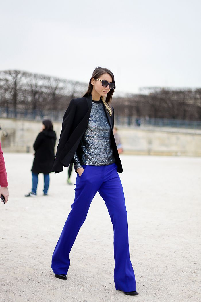 Paris. Cobalt boot cut trousers.