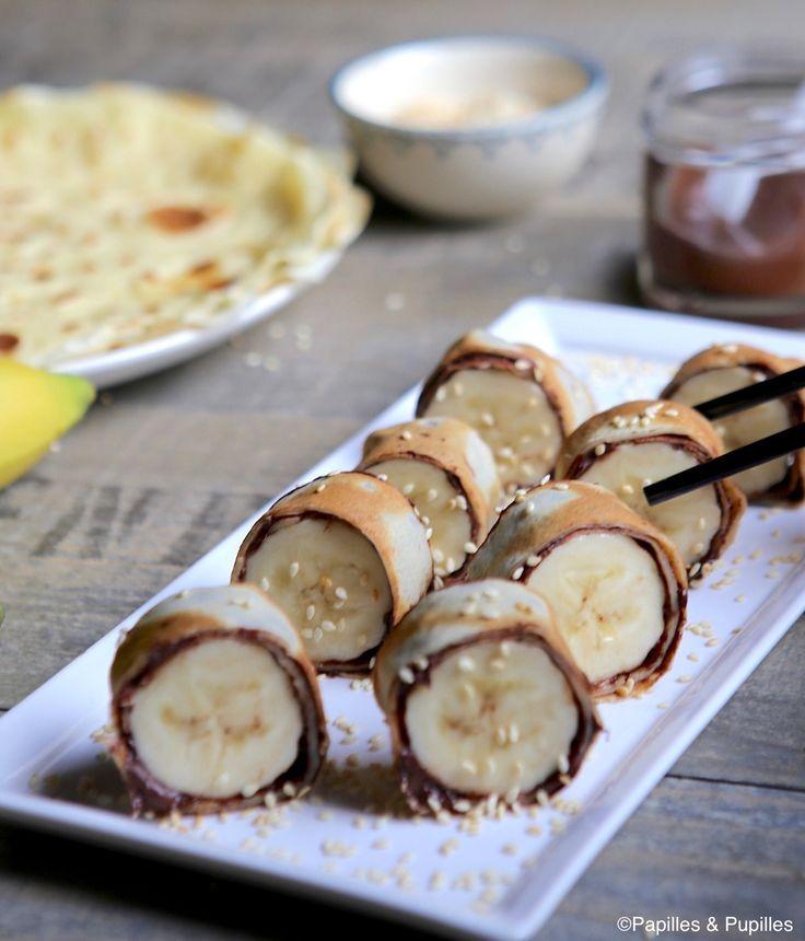 Makis de crêpes banane chocolat sésame