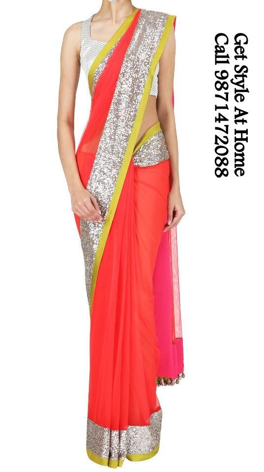 Orange saree with silver border. Call/Whatsapp 9871472088 for more details https://www.facebook.com/GetStyleAtHome