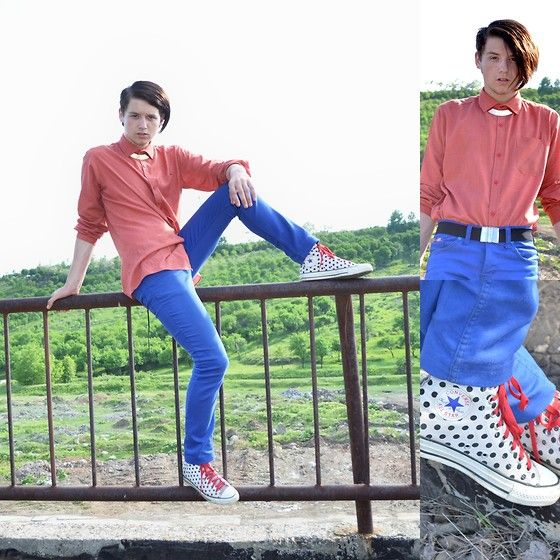 All Star Dots Converse, Blue Skinny Jeans, Topman Red Shirt, Zara Collar Necklace