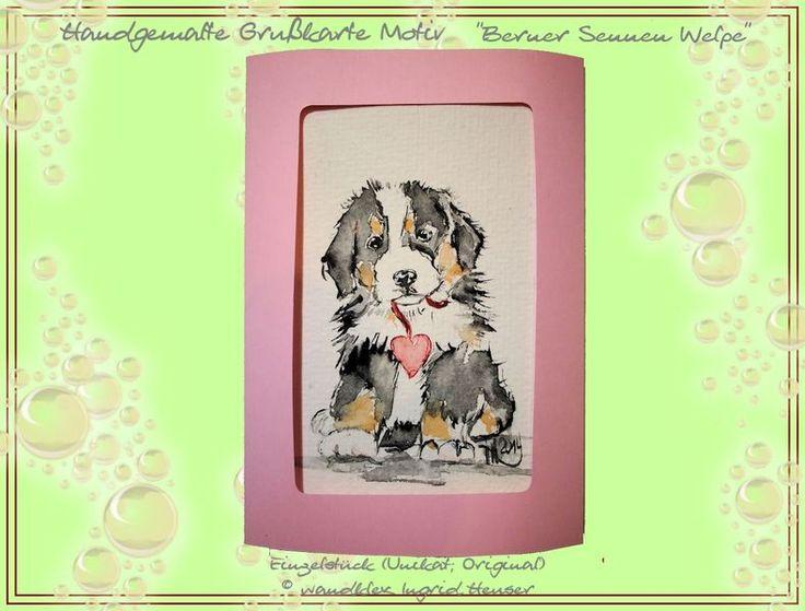Hunde - Einzelstück Grußkarte handgemalt Berner Sennen Welpe - ein Designerstück von wandklex bei DaWandaPostkarte mal anders;  handgemalte Karten - geht übrigens auch nach Ihrem Foto :-) Alles zu haben im kleinen Klexshop auf DaWanda unter http://de.dawanda.com/shop/wandklex (einzeln handgemalte Karten, auch mit Valentinstagsgruß, Spruch, Blümchen, Herzen, Weihnachtsmützen ;-) )  Jede Karte ein Unikat, alle Tierrassen und auch Personen möglich, auch Kleinserien.