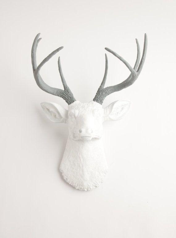 Fake Deer Head - The Helena - White W/ Gray Antlers Resin Deer Head- Stag Resin White Faux Taxidermy $119.99