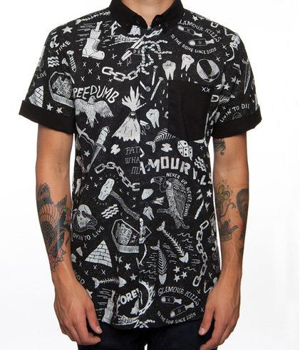 Glamour Kills button up available at Adrenaline Toronto.