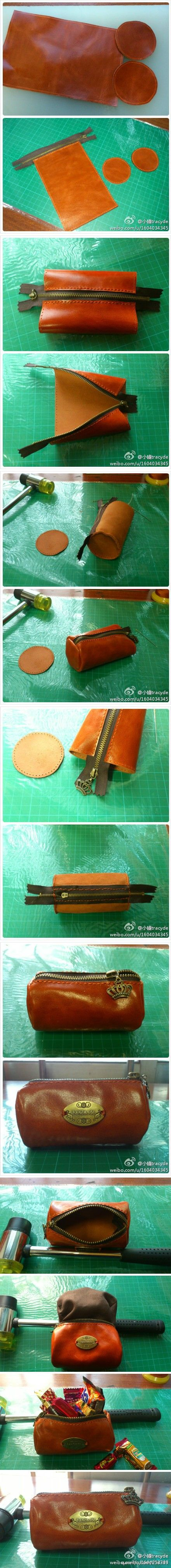Great DIY idea for tube shape zippered pouch