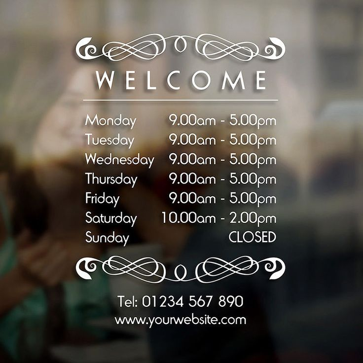 Opening Hours Times Sign - Self Adhesive Shop Window Sticker Decal - Design F