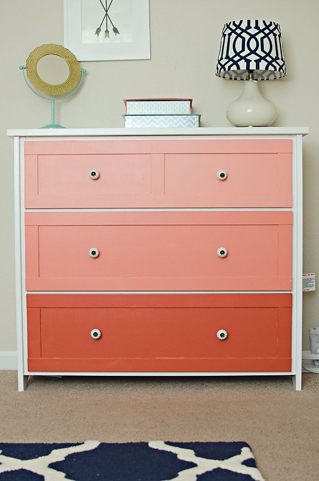 Coral Ombre Dresser - This dresser from @Target was painted in an ombre coral tone! #ombre #dresserWeekend Makeovers, Dressers Drawers, Colors Combos, Ombre Dressers, Easy Weekend, Kids Room, Custom Accent, Coral Ombre, Perfect Custom