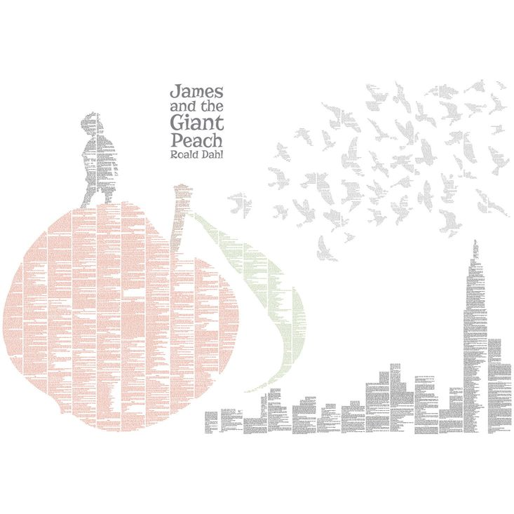 A beautiful Spineless Classic print featuring all the text from Roald Dahl's James and the Giant Peach