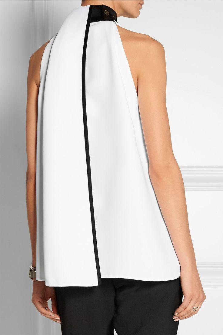 Victoria, Victoria Beckham white/black draped crepe blouse