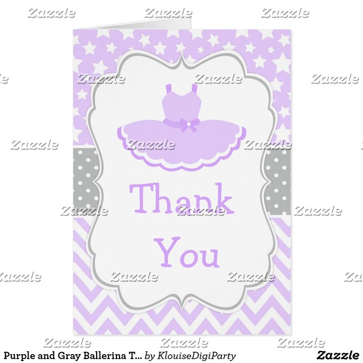 Purple and Gray Ballerina Thank You Card