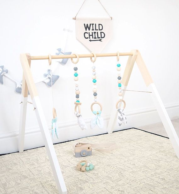 Mint Aqua marine Wood Baby Gym Toy Play Gym by styledbynaomi
