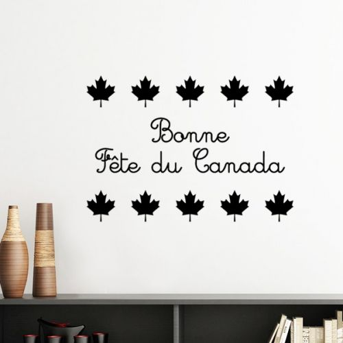 Maple Leaf Happy Canada Day Red Slogan Silhouette  Removable Wall Sticker Art Decals Mural DIY Wallpaper for Room Decal #Wallsticker #MapleLeaf #Wallpaper #HappyCanadaDay #Decoration #Red #Walldecor #Slogan #Homedecor #Stickers #Poster #DIY #Decorationsforhome #Wallart