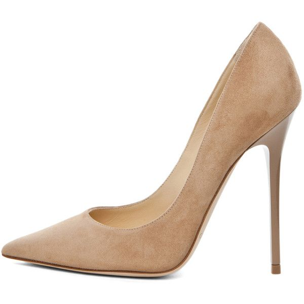 Jimmy Choo Anouk Suede Pump in Nude ($575) ❤ liked on Polyvore featuring shoes, pumps, heels, sapatos, zapatos, nude, nude heel shoes, nude suede shoes, nude shoes and heels & pumps