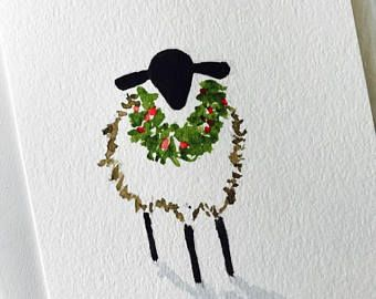 Christmas Sheep Greeting Card Art Original Painting by Artist Debra Alouise Lamb Country Farm Sheep Holiday Watercolor