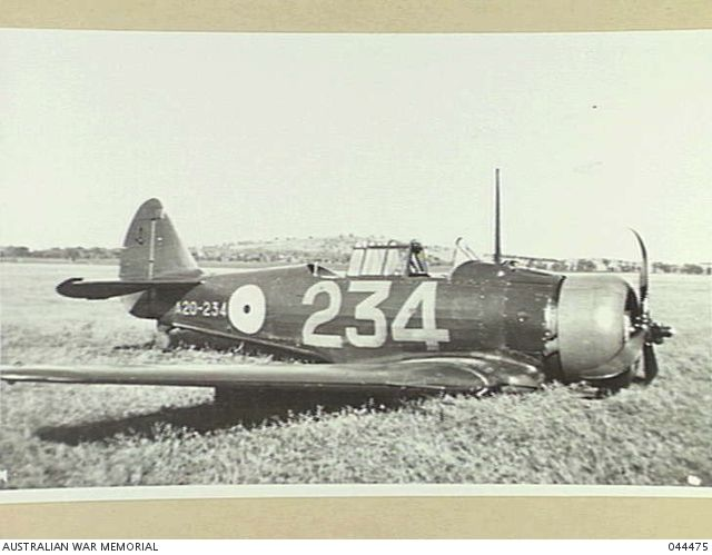 ROYAL AUSTRALIAN AIR FORCE WIRRAWAY A20-234 PHOTOGRAPH AFTER A FORCE-LANDING. THIS WAS THE LAST CA-7 PRODUCED BY THE COMMONWEALTH AIRCRAFT CORPORATION.