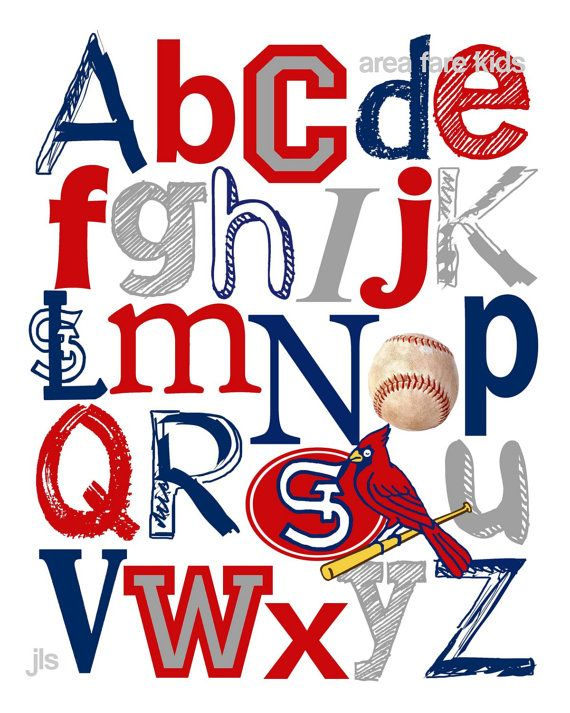 8 x 10 St. LOUIS CARDINALS baseball ABC Nursery Art Print. $15.00, via Etsy    @Jamie Ramsey this would be awesome on that baseball wall needs to be astros