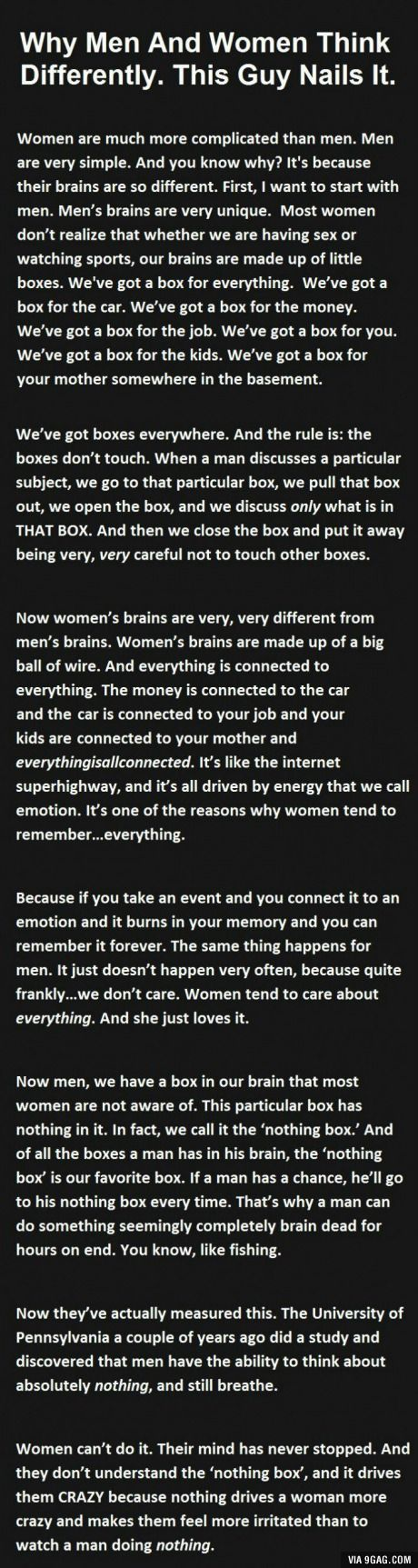 Why men and women think differently. This guy nailed it!