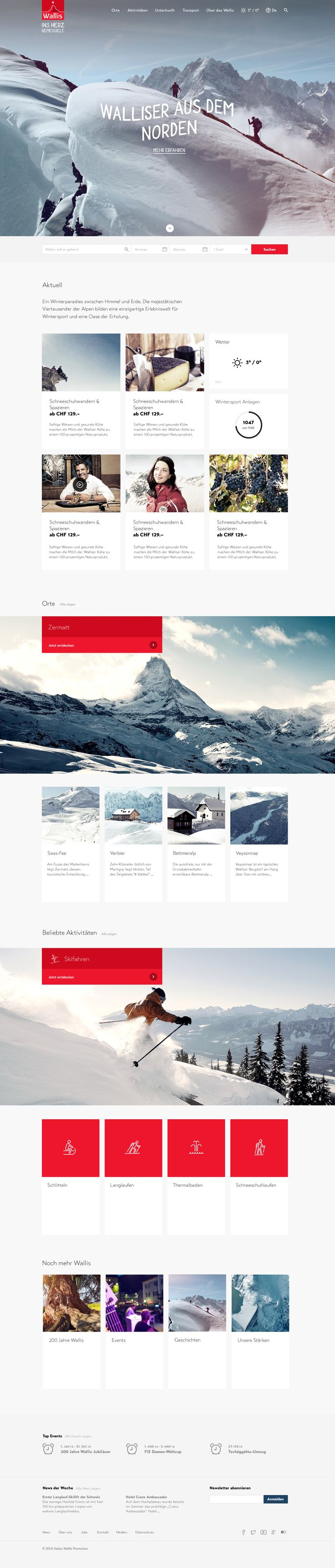 Relaunch Wallis.ch #webdesign #hinderlingvolkart #design #indentity #ux #ui #winter #summer #tourismus #destinations #mountain