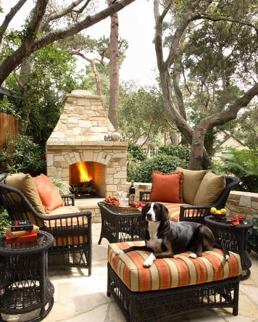 Another cool fire pit that I want for our backyard. The furniture is also cool & I would probably take the dog!!