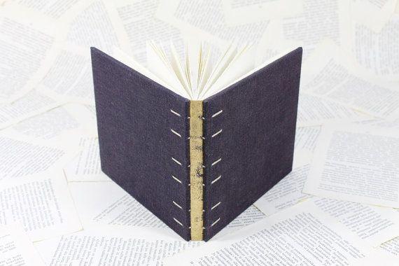Tamaño medio copto obligado revista lino púrpura oscuro y oro