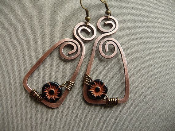 Wire Wrapped Earrings with Czech Glass Flower Beads                                                                                                                                                                                 More
