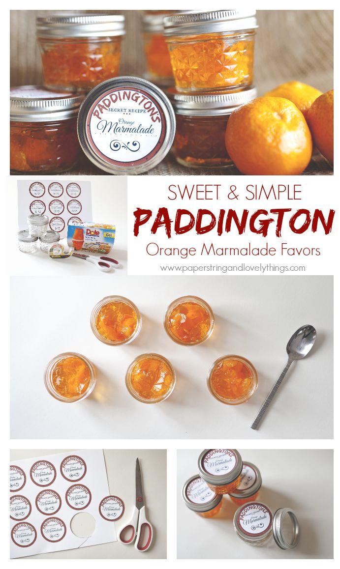 Orange Marmalade, Paddington, Bear, Favor, Party