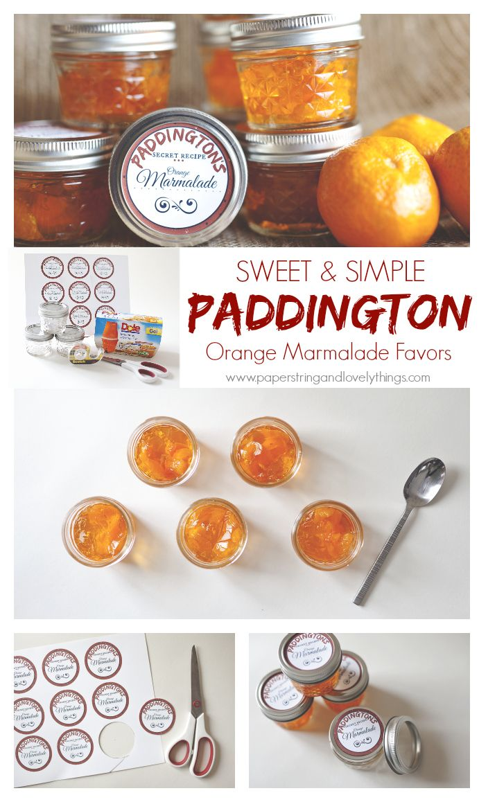 Orange Marmalade, Paddington, Bear, Favor, Party