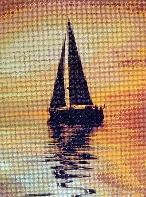 Evening Boat Diamond Painting Home Decoration Finished