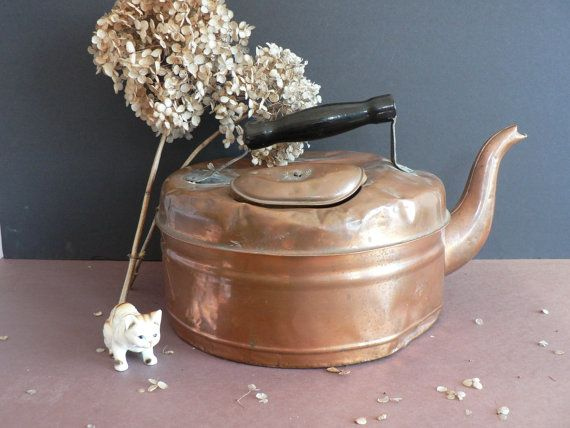 ANTIQUE  Extra Large Copper Kettle  Tin Lined  by myTreasureNook