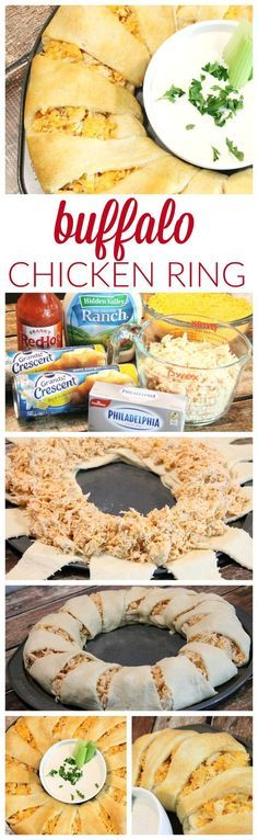 Buffalo Chicken Ring! The perfect party appetizer or snack recipe for the big game! Super Bowl Part Ideas and Recipes!