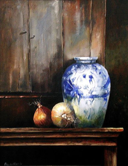 Earthen ware and Onions by Rika De Klerk Oil ~  x