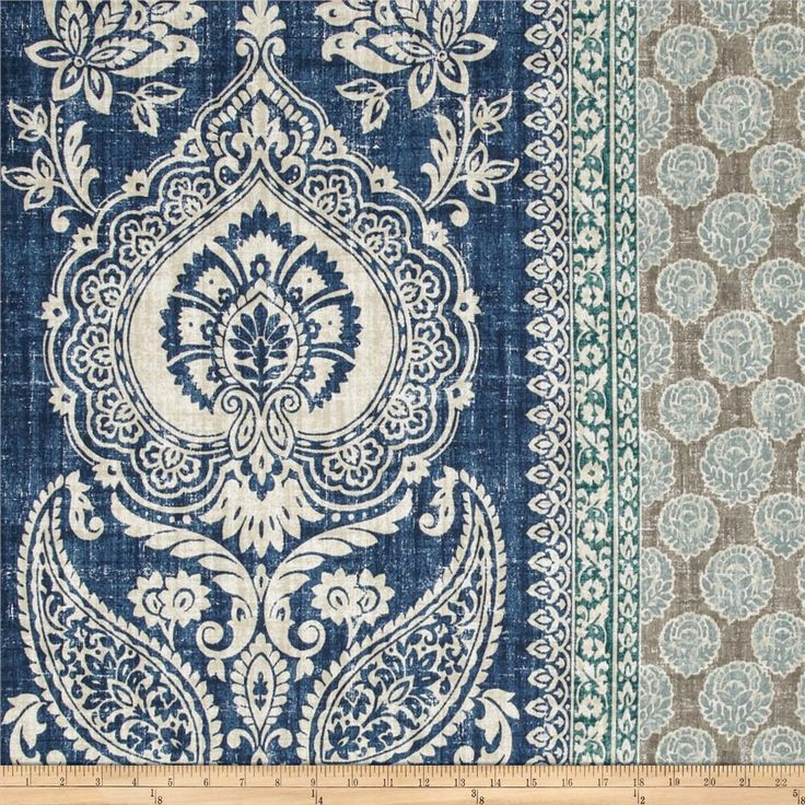 P Kaufmann Touch of Provence Mediterranean Blue from @fabricdotcom  Screen printed on cotton, this medium weight fabric has a distressed appearance and is perfect for window treatments (draperies, valances, curtains and swags), accent pillows, upholstering furniture, headboards, ottomans and poufs. Colors include ivory, jade, aqua, grey and indigo blue.